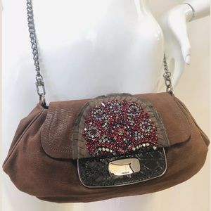 PRADA Brown Leather Embellished Clutch Convertible